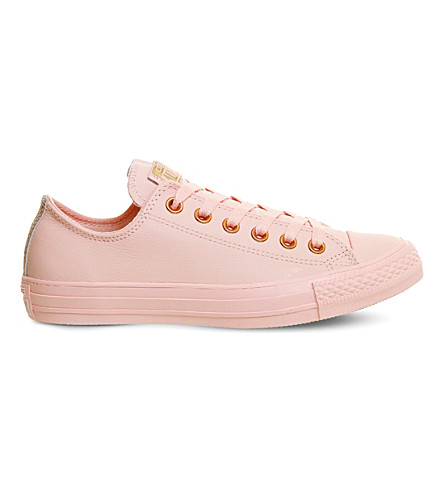 CONVERSE All Star leather low-top trainers (Vapour+pink+gold