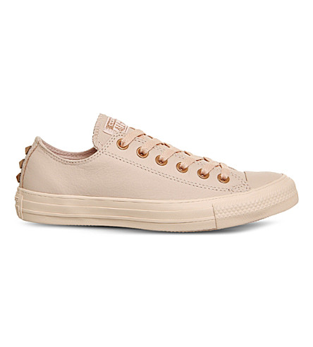 CONVERSE All Star low-top studded leather trainers (Dust+pink+stud
