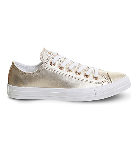 CONVERSE Allstar low-top metallic leather trainers (Blush+gold+white