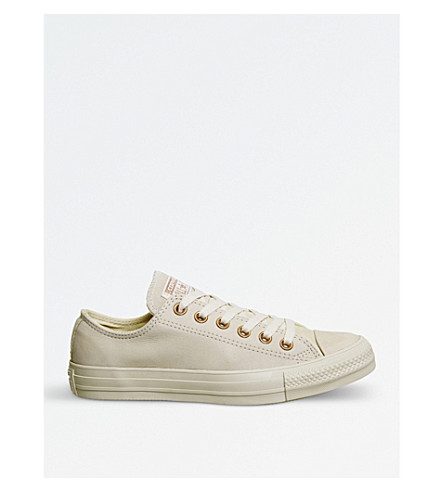 CONVERSE All Star leather low-top trainers (Light+twine+gold