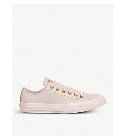 CONVERSE All Star low-top leather trainers (Artic+pink+gold