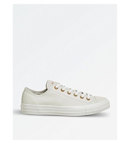 CONVERSE All Star low-top leather trainers (Pale+putty+gold