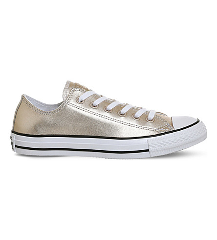 CONVERSE All Star metallic-leather low-top trainers (Blush gold
