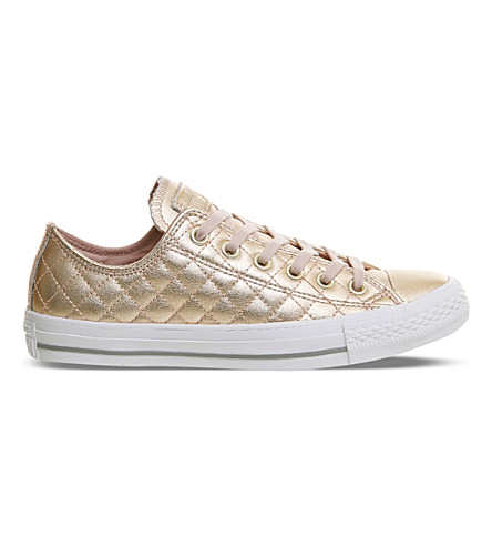 CONVERSE All Star quilted metallic leather trainers (Rose+gold+quilted
