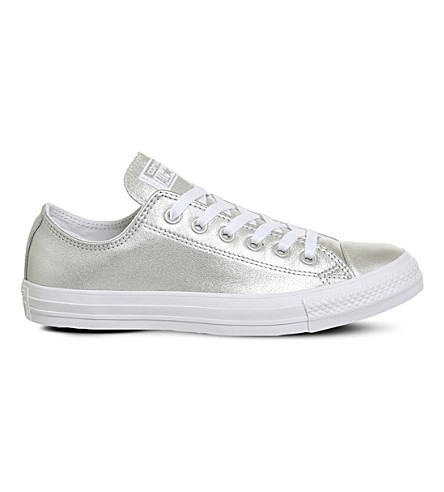 CONVERSE Allstar low-top metallic leather trainers (Pure+silver+white