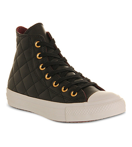 CONVERSE All Star quilted-leather high tops (Black burgundy