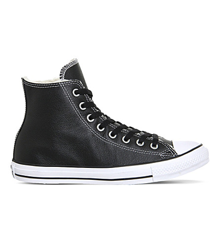 CONVERSE Allstar high-top leather trainers (Black+white