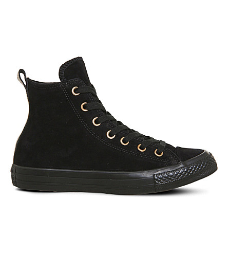CONVERSE Allstar high-top leather trainers (Black+suede