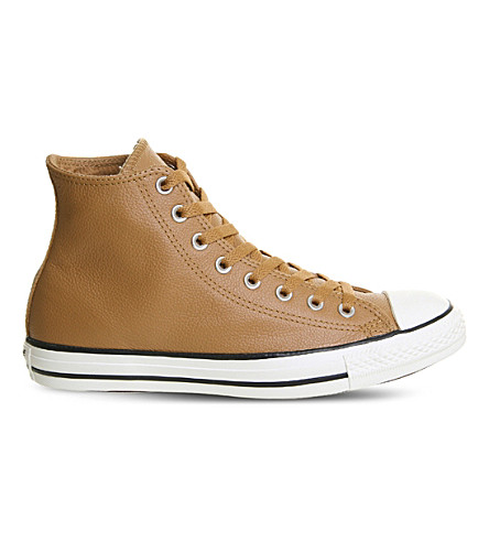 CONVERSE All Star high-top leather trainers (Raw+sugar