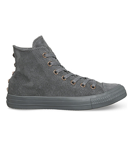CONVERSE All Star high-top studded suede trainers (Mason+grey+stud