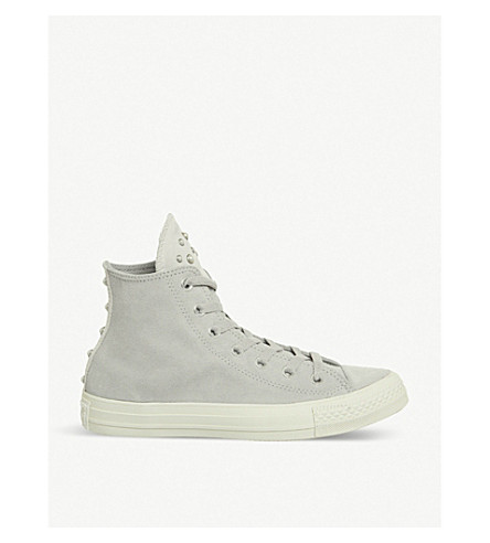 CONVERSE All Star embellished leather high-top trainers (Ash+grey+egret