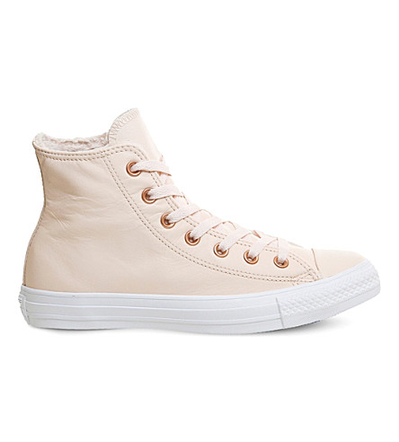 CONVERSE All Star leather high-top trainers (Pastel+rose+tan+fur