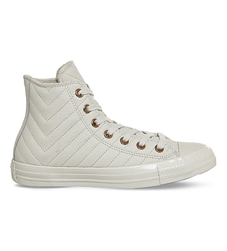 CONVERSE All Star stitched leather high-top trainers (Parchment+rose+quilt