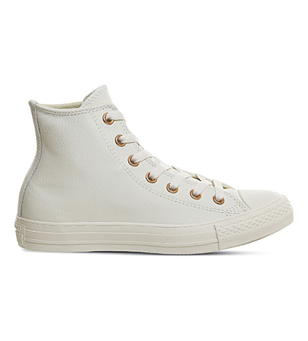 CONVERSE All Star high-top leather trainers (Eggnog+light+gold