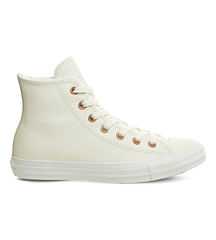 CONVERSE All Star leather high-top trainers (Egret+fur