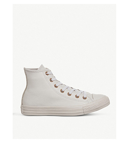 CONVERSE All Star leather high-top trainers (Sand+dollar+gold
