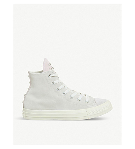 CONVERSE All Star embellished leather high-top trainers (Egret+quartz+blush