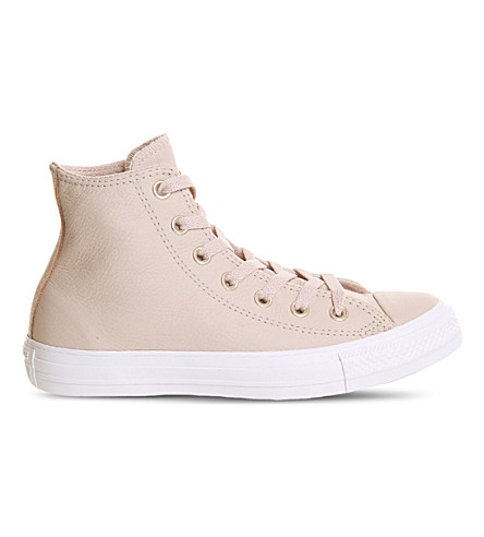 CONVERSE All Star high-top leather trainers (Evening+sand+white