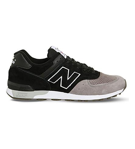 NEW BALANCE 576 麂皮绒运动鞋 (黑色 + 灰色
