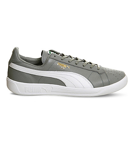 PUMA Lima logodetail leather trainers Quarrypurewhite PreviousNext