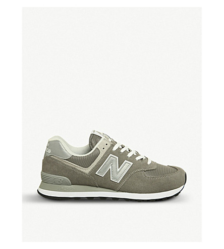 NEW BALANCE 574 low-top suede and mesh trainers (Grey