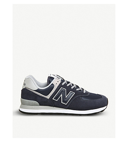 NEW BALANCE 574 suede and mesh trainers (Navy