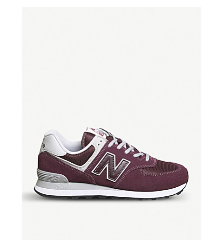 NEW BALANCE 574 suede and mesh trainers (Burgundy