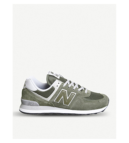 NEW BALANCE 574 suede and mesh trainers (Khaki