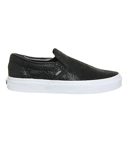 VANS Classic slip-on leather trainers (Black pebble snake