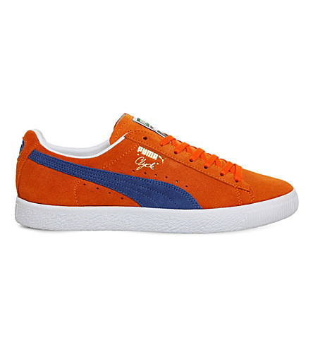 PUMA Clyde lace-up suede trainers (Orange royal nyc