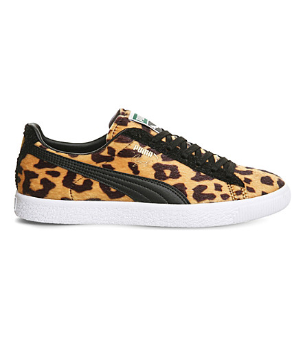 PUMA Clyde pony-hair leather trainers (Clyde suit leopard
