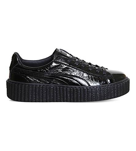PUMA Basket Creeper patent leather sneakers (Black+cracked+fenty