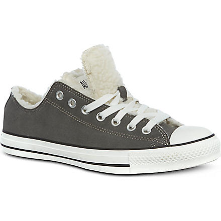 CONVERSE Shearling double tongue low tops (Charcoal