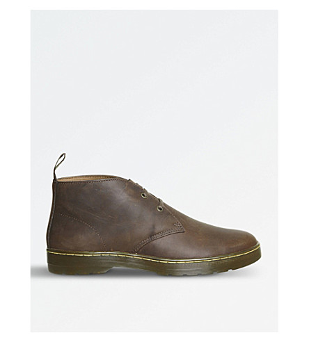 DR.貂卡布里洛疯狂的马皮革沙漠靴子 (牧人 + 皮革