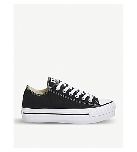 CONVERSE All Star flatform canvas trainers (Black+white
