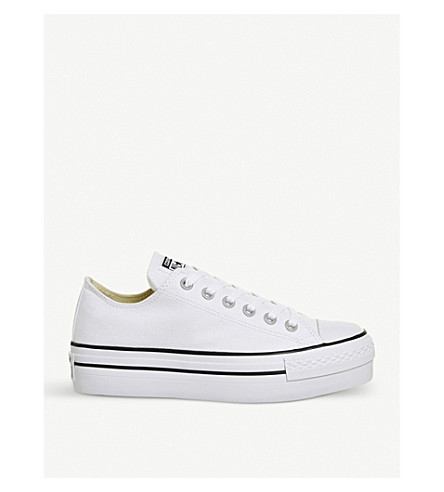 CONVERSE All Star flatform canvas trainers (White+white