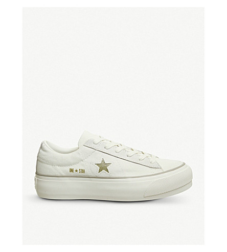 CONVERSE All Star Low Platform canvas trainers (Grey+white+glitter