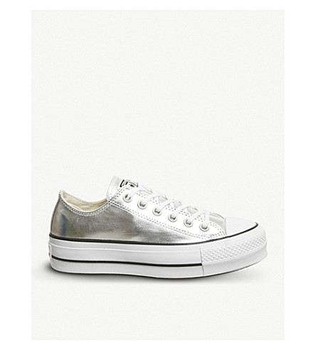 CONVERSE All Star low-top platform canvas trainers (Silver+black+white
