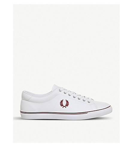 FRED PERRY Underspin leather trainers (White+port