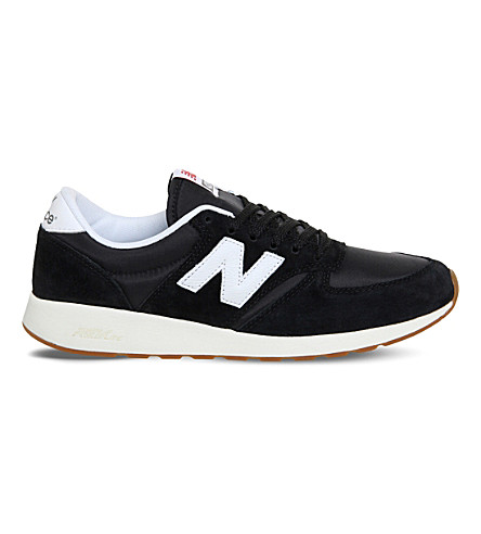NEW BALANCE 420 suede trainers (Black+white+gum