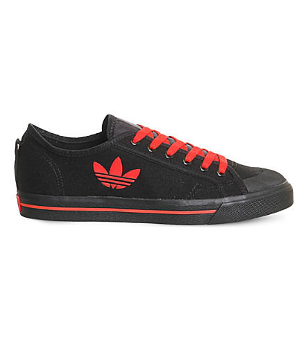 ADIDAS X RAF SIMONS Raf x Spirit Low lace-up canvas trainers (Black+tomato