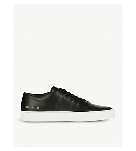 COMMON PROJECTS Court low-top leather trainers (Black+leather