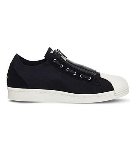 ADIDAS Y3 Y3 super zip neoprene and suede low-top trainers (Black+ecru