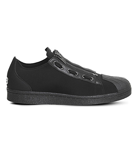 ADIDAS Y3 Super Zip neoprene and leather trainers (Black+white