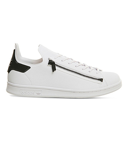 ADIDAS Y3 Stan Zip leather trainers (White+black