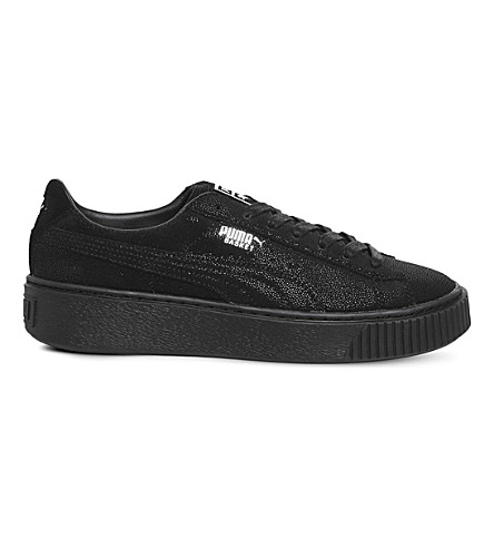 PUMA Suede Platform leather-embellished trainers (Black