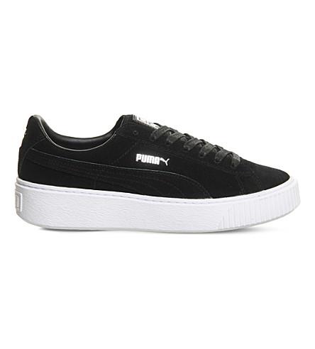 PUMA 绒面革平台运动鞋 (黑 + 白