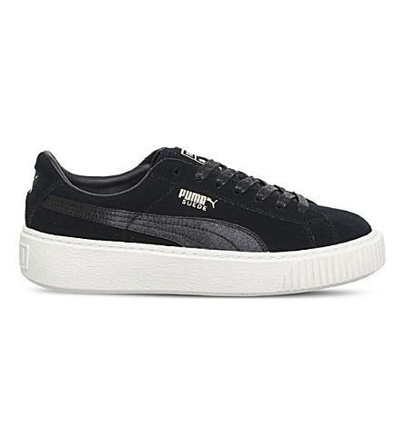 PUMA Suede platform trainers (Black+gold+satin