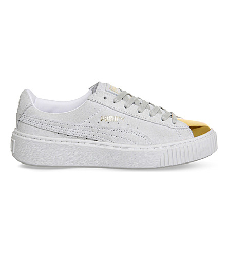 PUMA Gold-toe suede platform trainers (Grey gold toe white