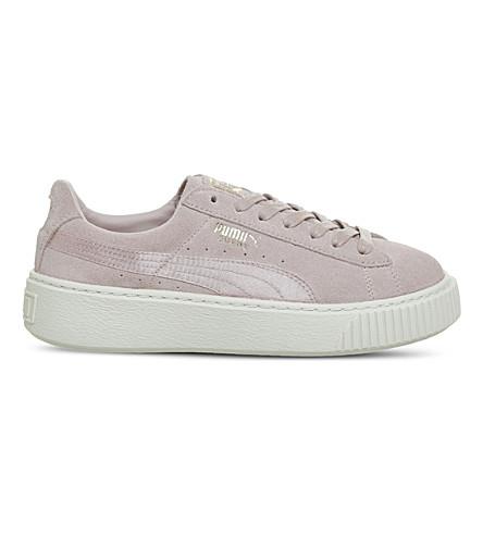 PUMA Suede platform trainers (Silver+pink+satin